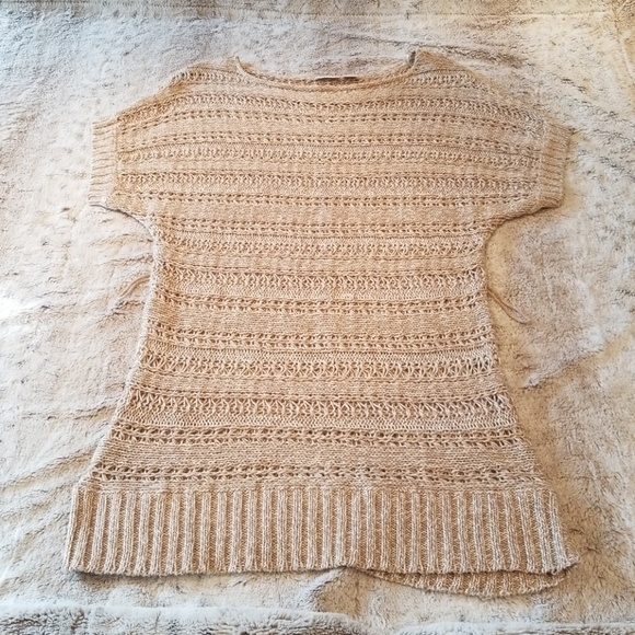 Cato Sweaters - Cato Tan and Gold Long Sweater w Belt Loops